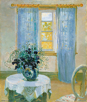 Interior with clematis by Anna Ancher
