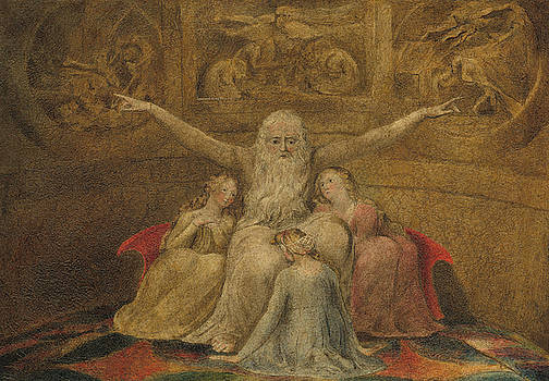 Job and His Daughters by William Blake