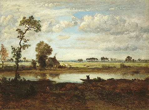 Theodore Rousseau -  Landscape with Boatman