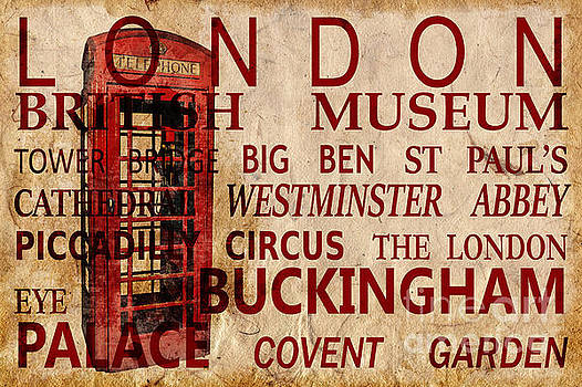 Delphimages Photo Creations - London vintage poster red