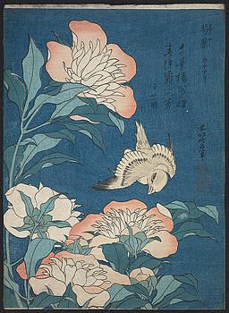 Katsushika Hokusai - Peonies And Canary