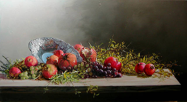 Pomegranates With Grapes by Demetrios Vlachos