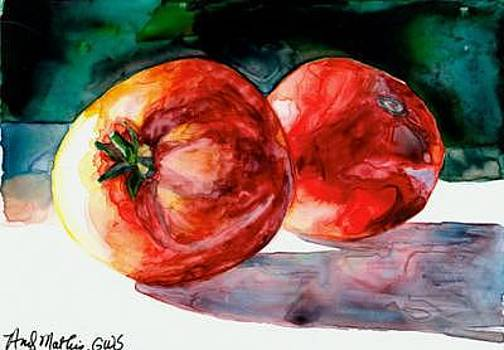 2 Red Tomatoes On Yupo by Andy  Mathis
