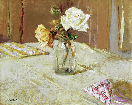Roses in a Glass Vase by Edouard Vuillard