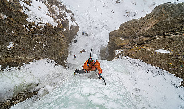 Shane Nelson climbing Kettle Falls near Homedale Idaho  by Elijah Weber