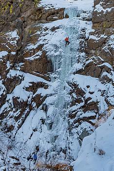 Shane Nelson climbs a route called Hidden Falls by Elijah Weber
