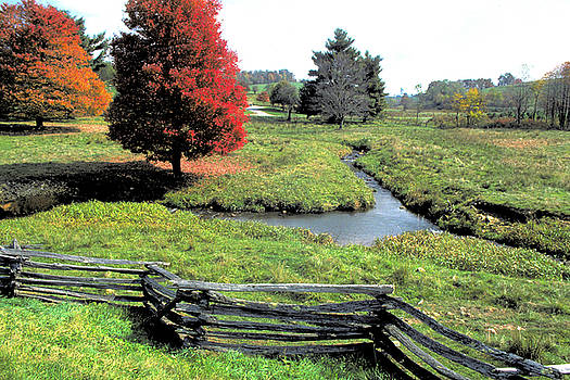 Split Rail Fence and Stream in Rural Virginia by Carl Purcell