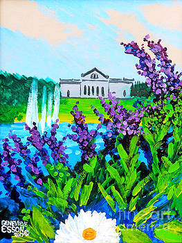 St. Louis Art Museum At Grand Basin With Flowers and Water Fountains by Genevieve Esson