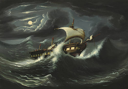 Thomas Chambers - Storm Tossed Frigate