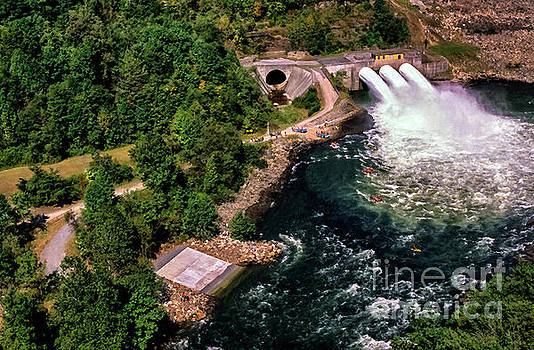 Summersville Dam Tube Release Aerial View by Thomas R Fletcher