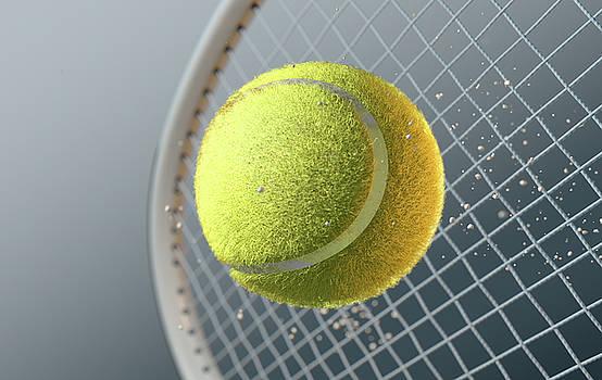 Tennis Ball Striking Racqet In Slow Motion by Allan Swart
