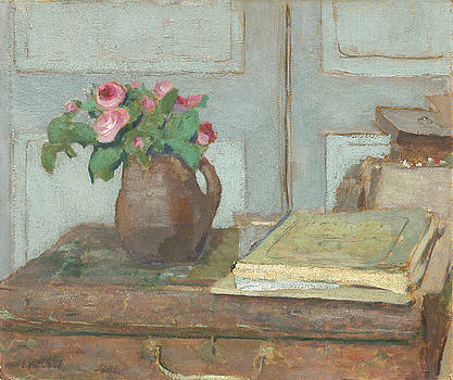 The Artist's Paint Box And Moss Roses by Edouard Vuillard