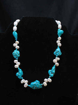Turquoise and pearl Necklace by Sarupa  Shrestha