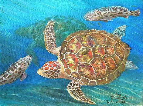Turtle collage by Eleonora Mingazova