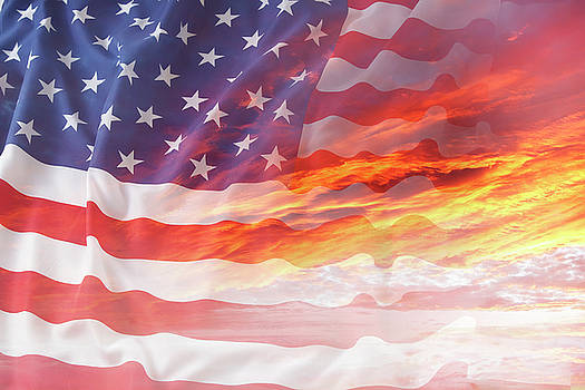 USA flag in sky 1 by Les Cunliffe