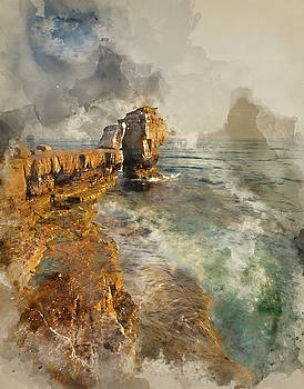 Watercolor painting of Stunning geological rock cliff formations by Matthew Gibson