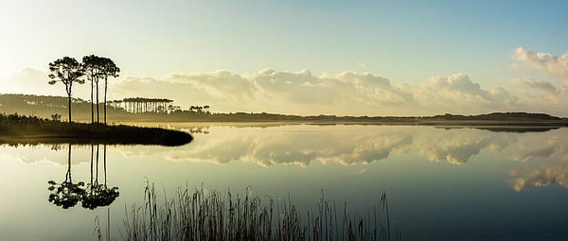 Western Lake Misty Morning Panorama by Kurt Lischka