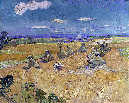 Wheat Fields with Reaper, Auvers by Vincent van Gogh