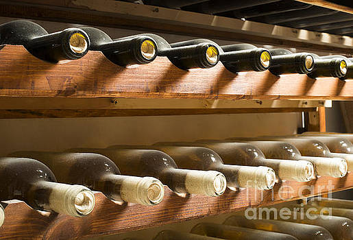 Wine bottles on shelf by Deyan Georgiev