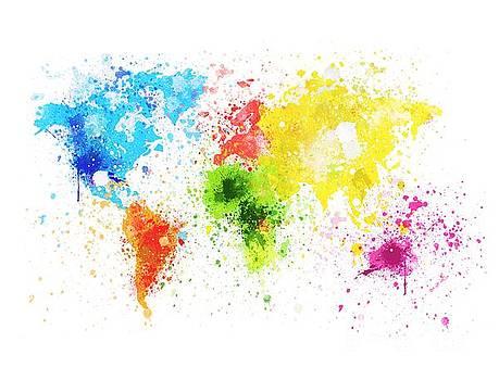 World Map Painting by Setsiri Silapasuwanchai