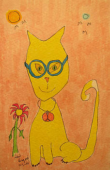 Yellow Cat With Glasses by Lew Hagood