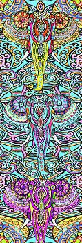 Yoga Mat Elephant Heads by Stephen Humphries