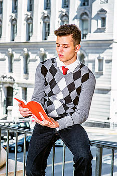 Alexander Image - Young American Man Reading Outside in New York