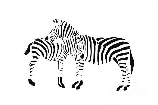 2 Zebras #2 by Mary Atchison