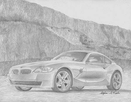 2007 BMW z4 Coupe SPORTS CAR ART PRINT by Stephen Rooks