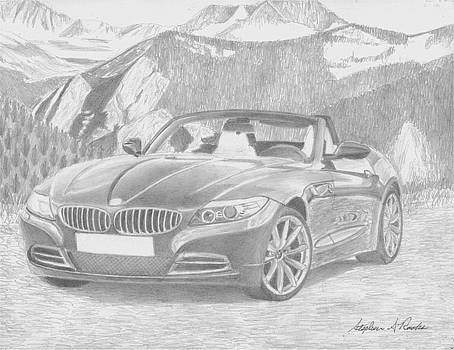 2010 BMW z4 SPORTS CAR ART PRINT by Stephen Rooks