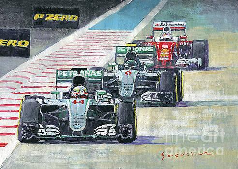 2016 Abu Dhabi GP Mercedes Hamiltom Rosberg Ferrari Vettel by Yuriy Shevchuk