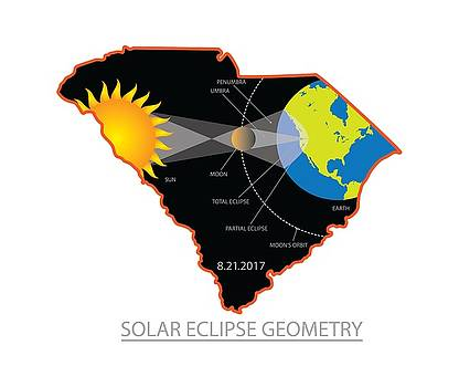 2017 Solar Eclipse Geometry Across South Carolina Cities Map Illustration by Jit Lim