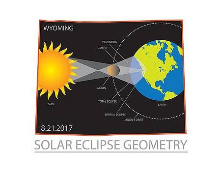 2017 Solar Eclipse Geometry Wyoming State Map Illustration by Jit Lim