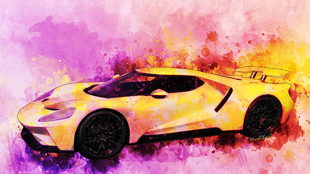 2018 Ford GT Watercolour Whatta Ride by Chas Sinklier