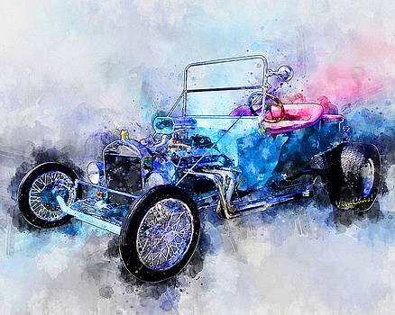 23 Model T Hot Rod Watercolour Illustration by Chas Sinklier