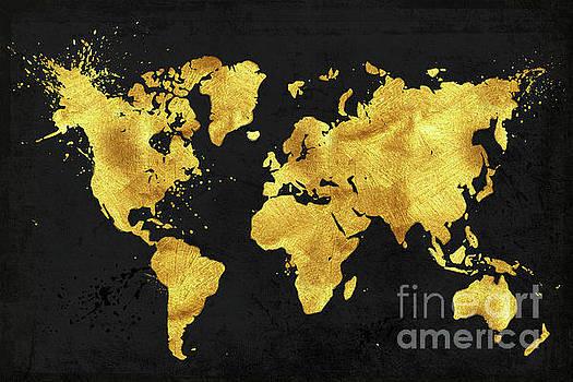 Tina Lavoie - 24 Karat World in black, gold metal world map