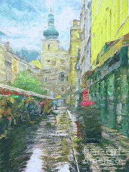 2nd Work of the Market in the rain - Prague by Leigh Kemp