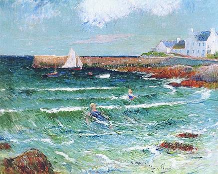 Bathing in the Sea at Lomener by Henri Moret