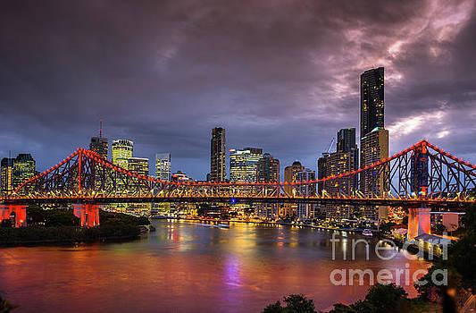 Brisbane city skyline after dark by Andrew Michael