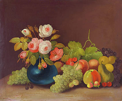 Cabbage Roses and Fruit by William Buelow Gould