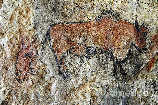 Cave painting in prehistoric style by Michal Boubin