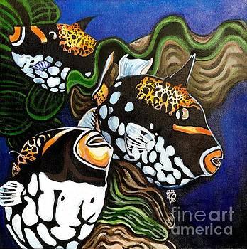 3 Clown Triggerfish by Tiffany Brazell