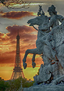 Eiffel Tower and Equestrian Sculpture  by Carl Purcell