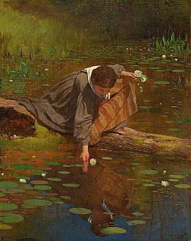 Gathering Lilies by Eastman Johnson