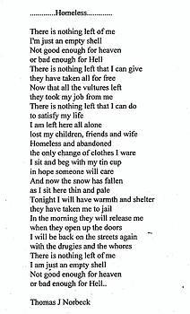 Thomas J Norbeck - Homeless