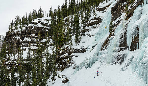 Ice Climbers on a route called Twin Falls  WI3 in Hyalite Canyon by Elijah Weber