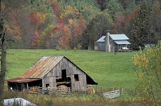 Log Cabin and Barn in Virginia by Carl Purcell