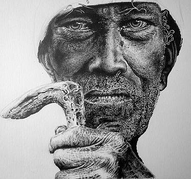 Man With Cane in process by Geni Gorani