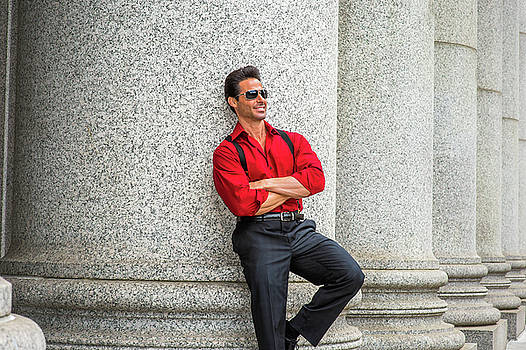 Alexander Image - Middle Age American Businessman wearing sunglasses, traveling, w