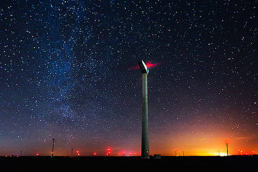 Milky Way over the wind turbine by Valentin Valkov